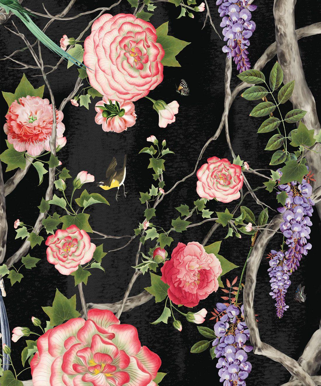 Empress Wallpaper • Romantic Wallpaper • Floral Wallpaper • Chinoiserie Wallpaper • Black Night colour wallpaper swatch