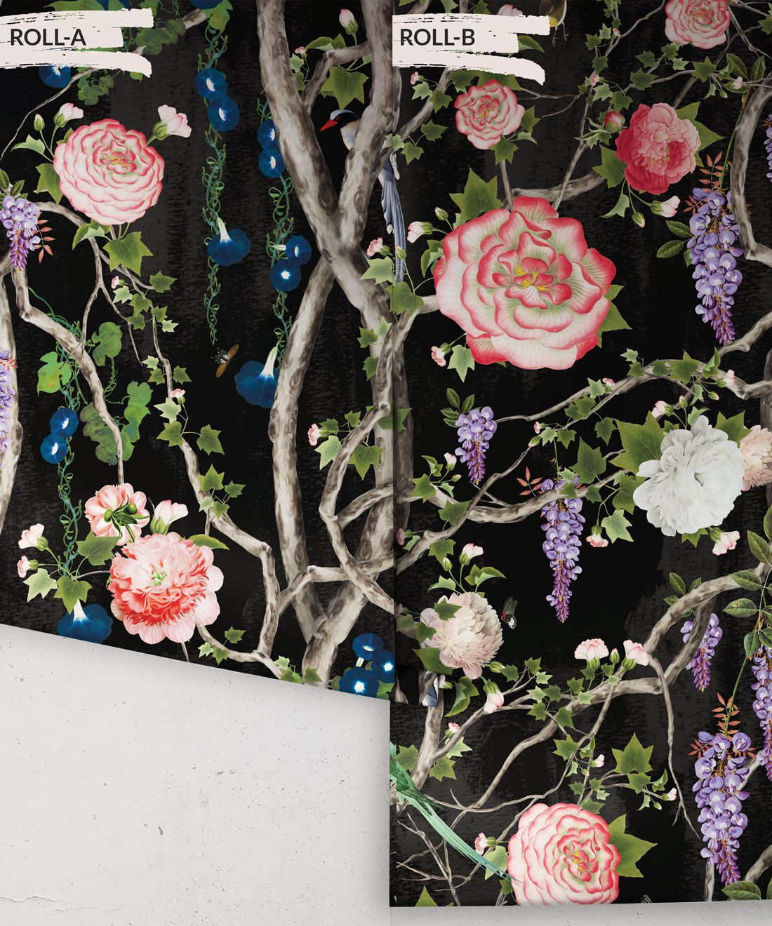 Empress Wallpaper • Romantic Wallpaper • Floral Wallpaper • Chinoiserie Wallpaper • Black Night colour wallpaper rolls