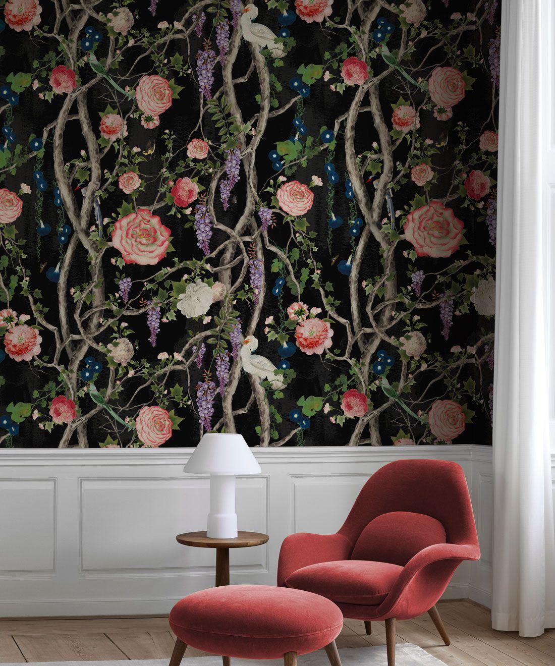Empress Wallpaper • Romantic Wallpaper • Floral Wallpaper • Chinoiserie Wallpaper • Black Night colour wallpaper insitu