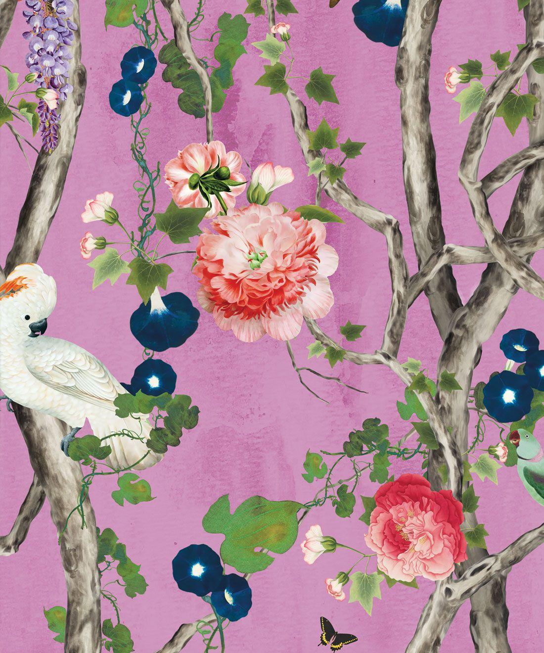 Empress Wallpaper • Romantic Wallpaper • Floral Wallpaper • Chinoiserie Wallpaper • Plum Purple colour wallpaper swatch