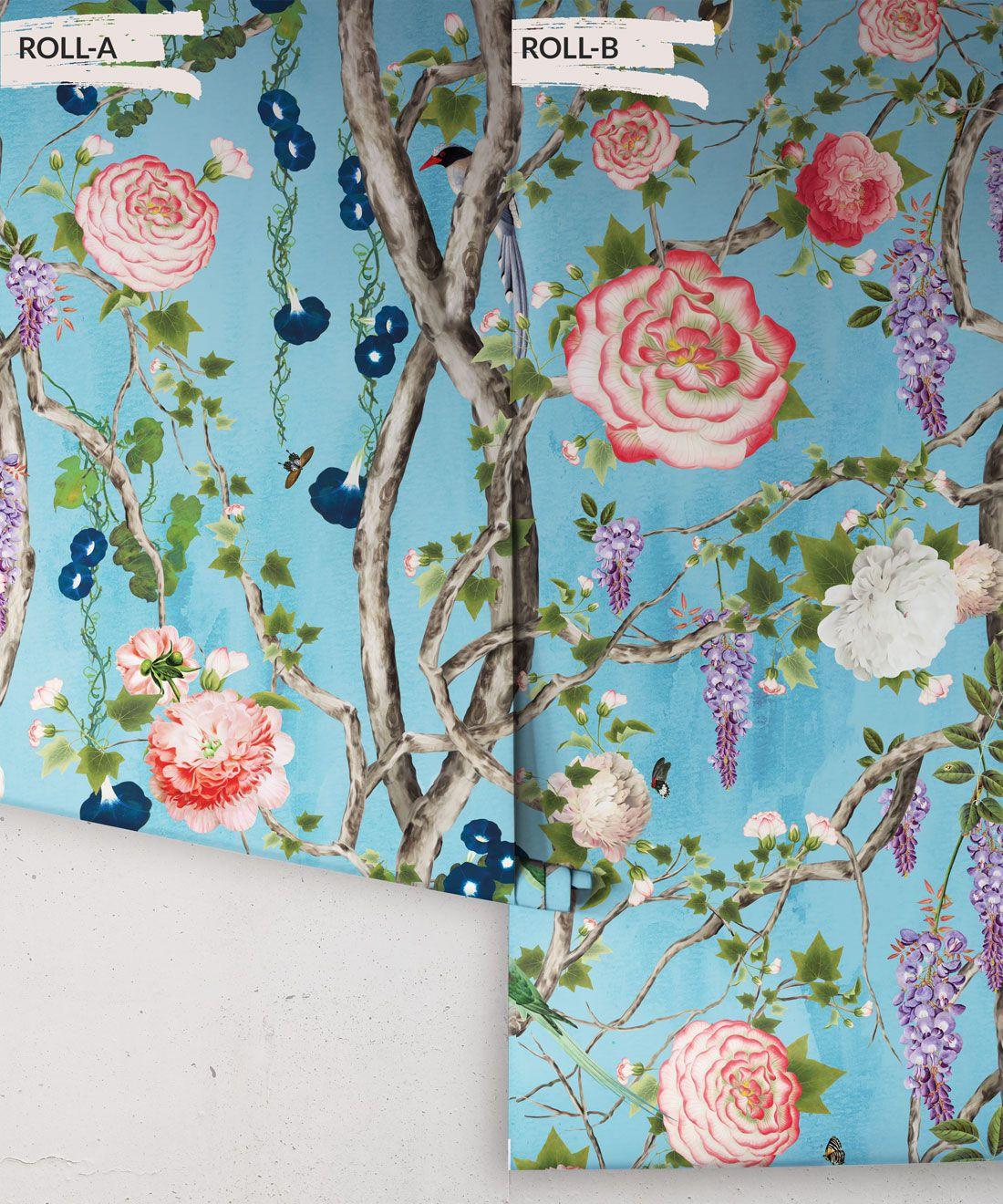 Empress Wallpaper • Romantic Wallpaper • Floral Wallpaper • Chinoiserie Wallpaper • Sky Blue colour wallpaper rolls