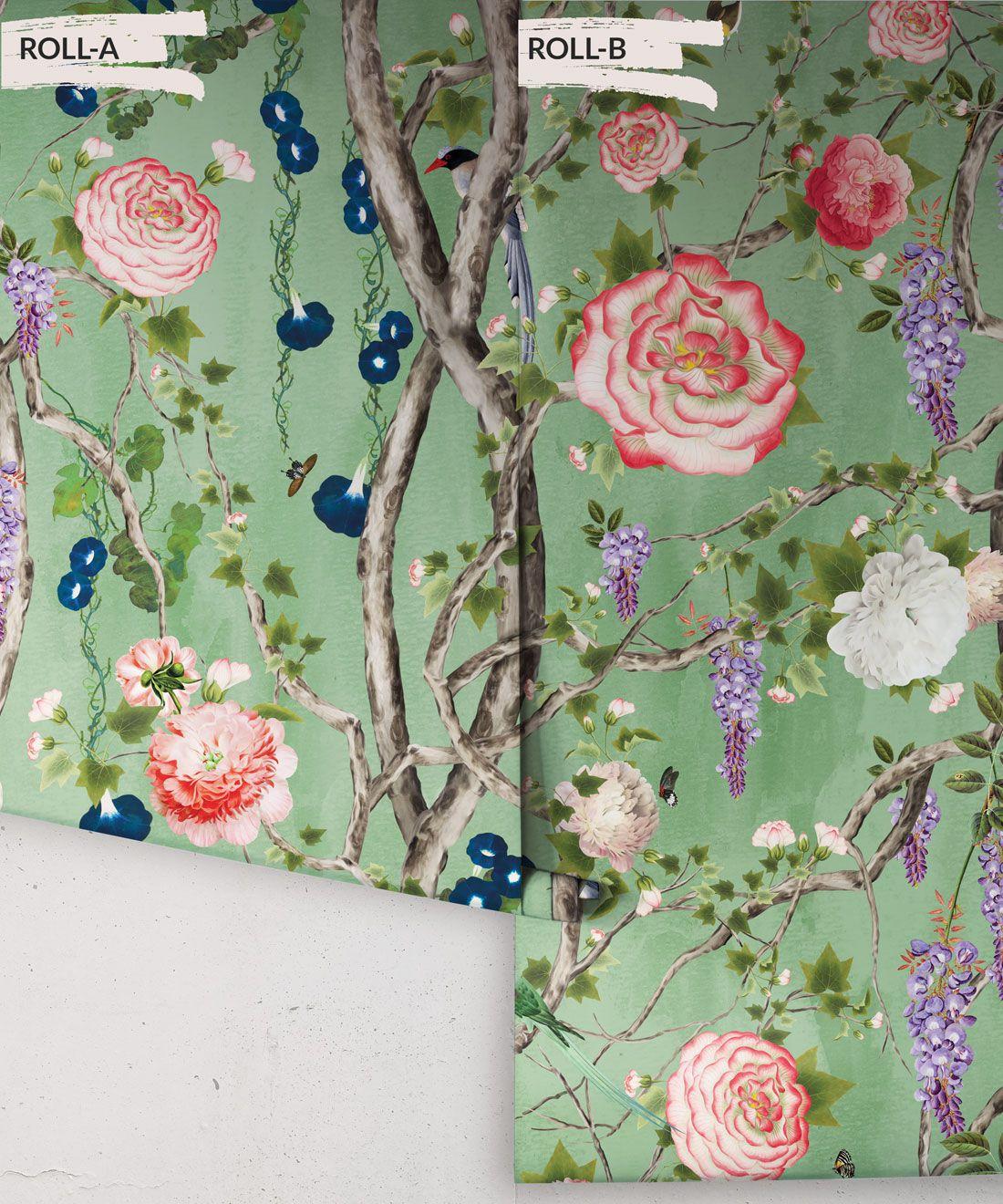 Empress Wallpaper • Romantic Wallpaper • Floral Wallpaper • Chinoiserie Wallpaper • Tea Garden Green colour wallpaper rolls
