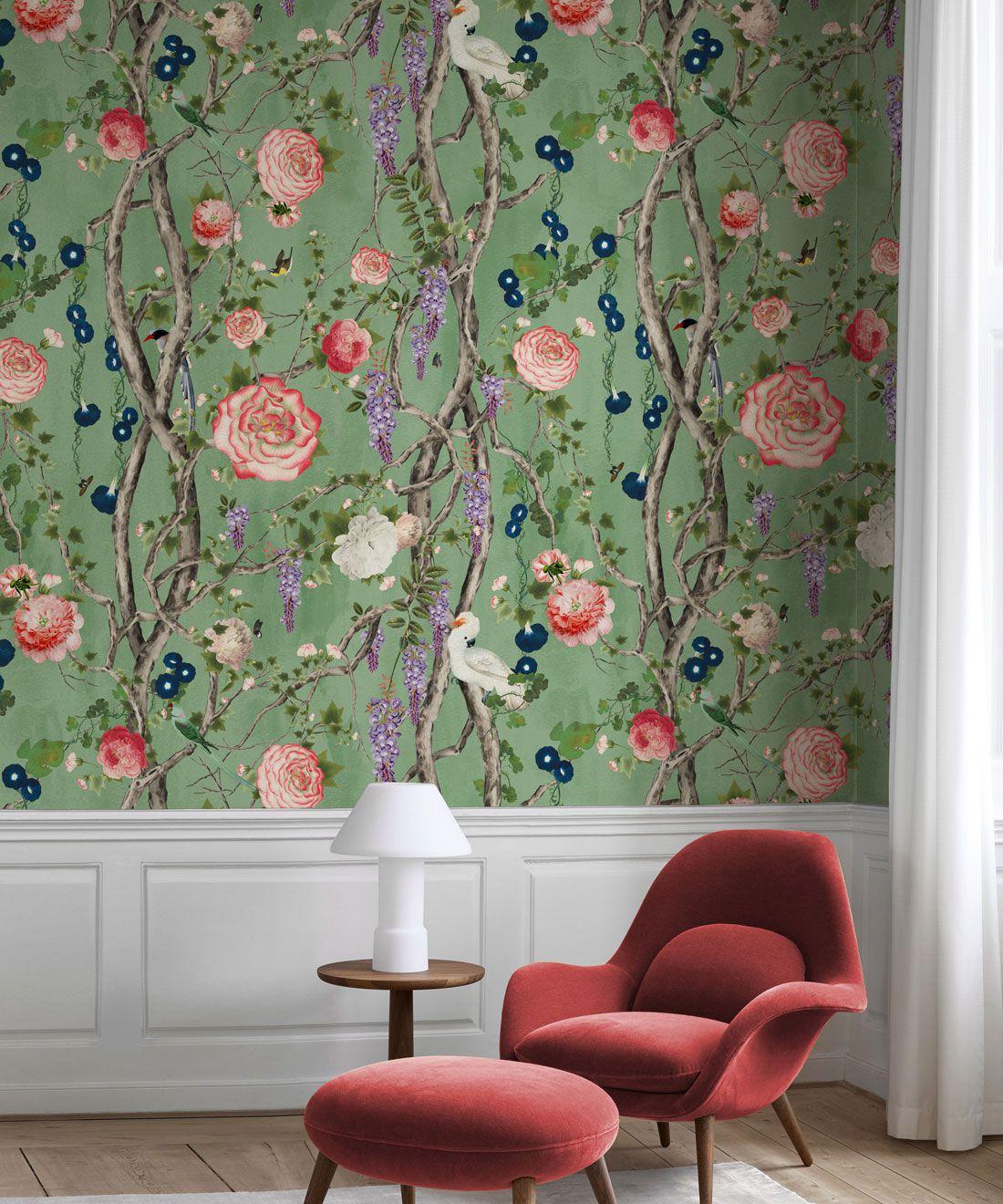 Empress Wallpaper • Romantic Wallpaper • Floral Wallpaper • Chinoiserie Wallpaper • Tea Garden Green colour wallpaper insitu