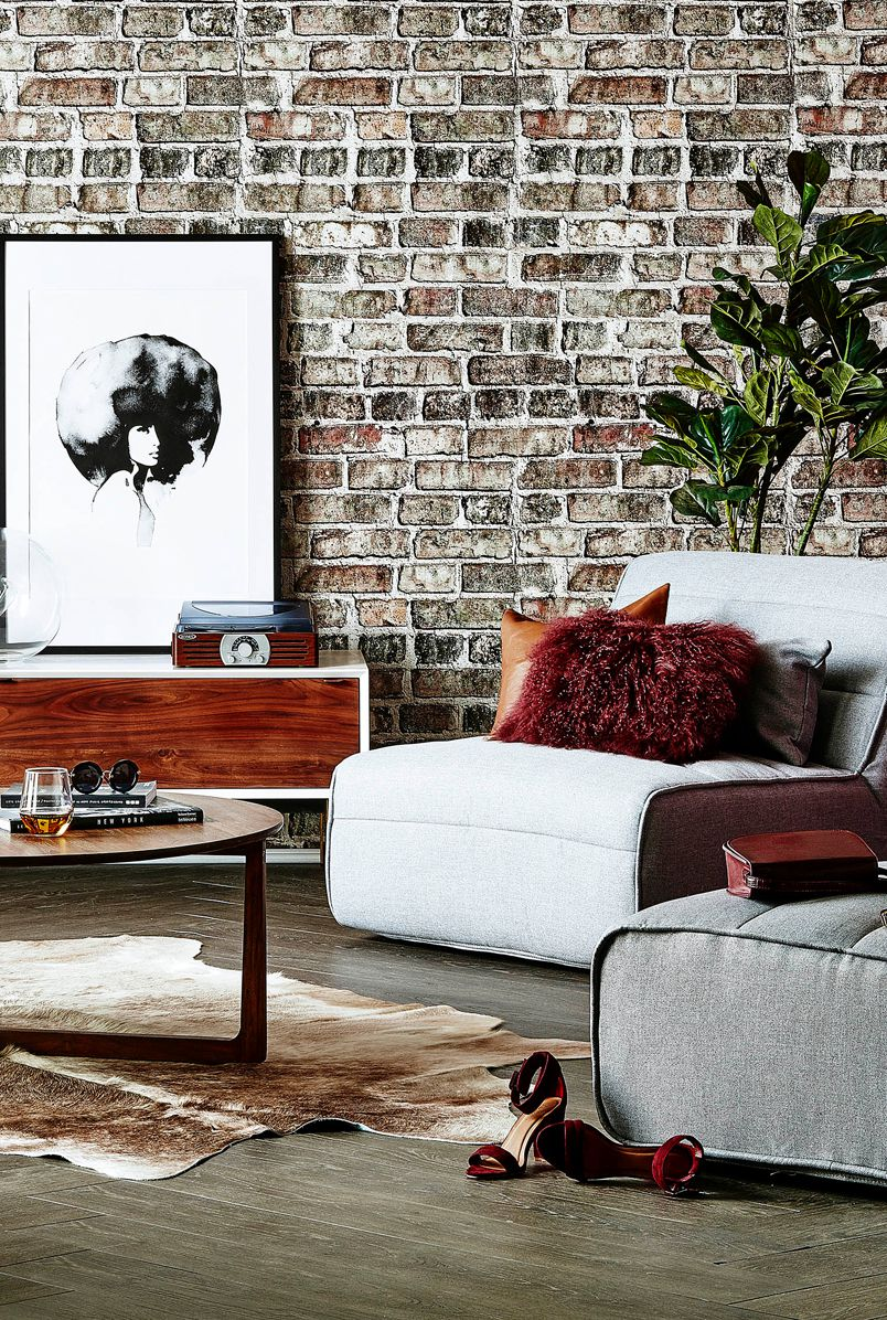 Industrial Brick Wallpaper • Vintage Bricks Wallpaper • Chic Urban Lounge