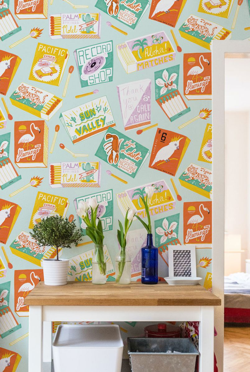 Match Books Wallpaper by Jacqueline Colley