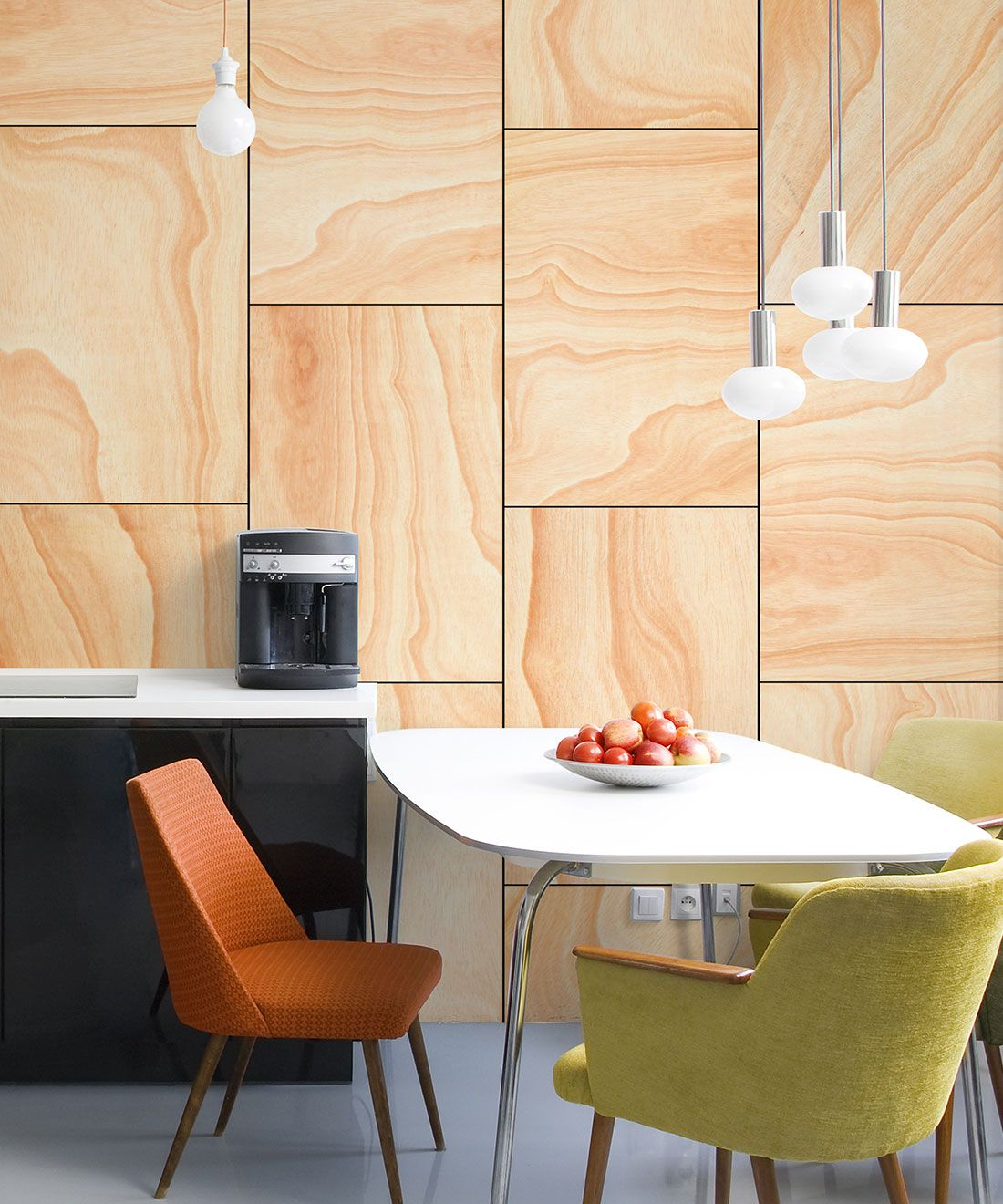 Ply Wood Wallpaper • Light Brown Wallpaper • Wood Grain Wallpaper insitu with an orange chair, green chait around a white table