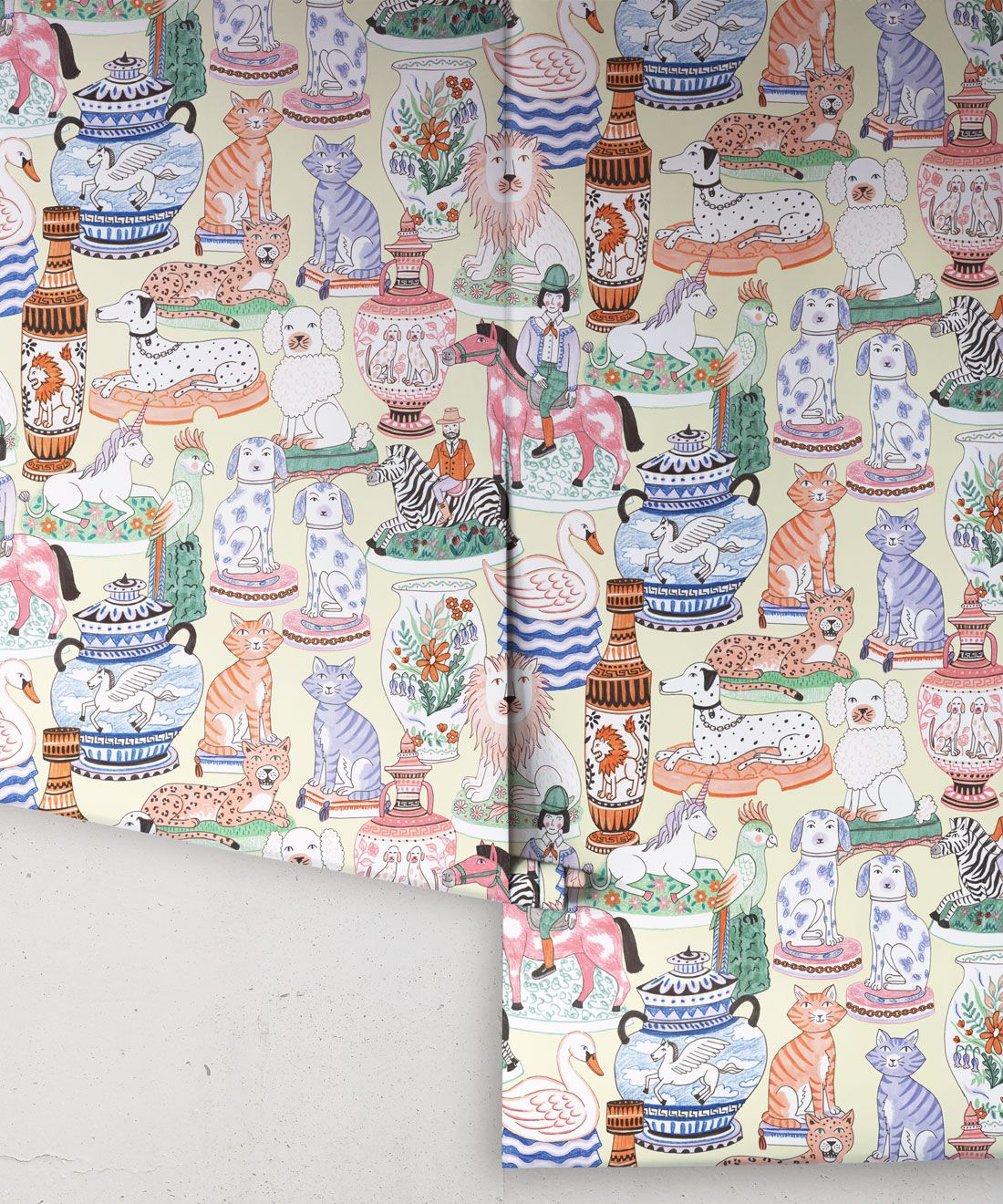 Ceramics Wallpaper featuring vases of dogs, cats, zebras, lions, parrots and unicorns rolls