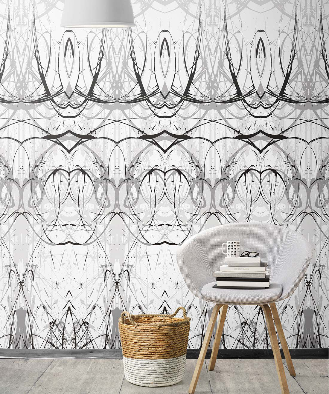 Penthu Wallpaper by Simcox • Color Black & White • Contemporary Wallpaper • insitu