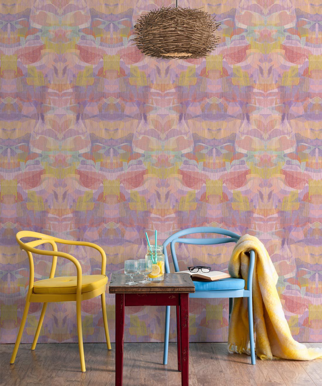 Camoufleur Wallpaper • Tangerine • Orange Wallpaper • Abstract Wallpaper insitu