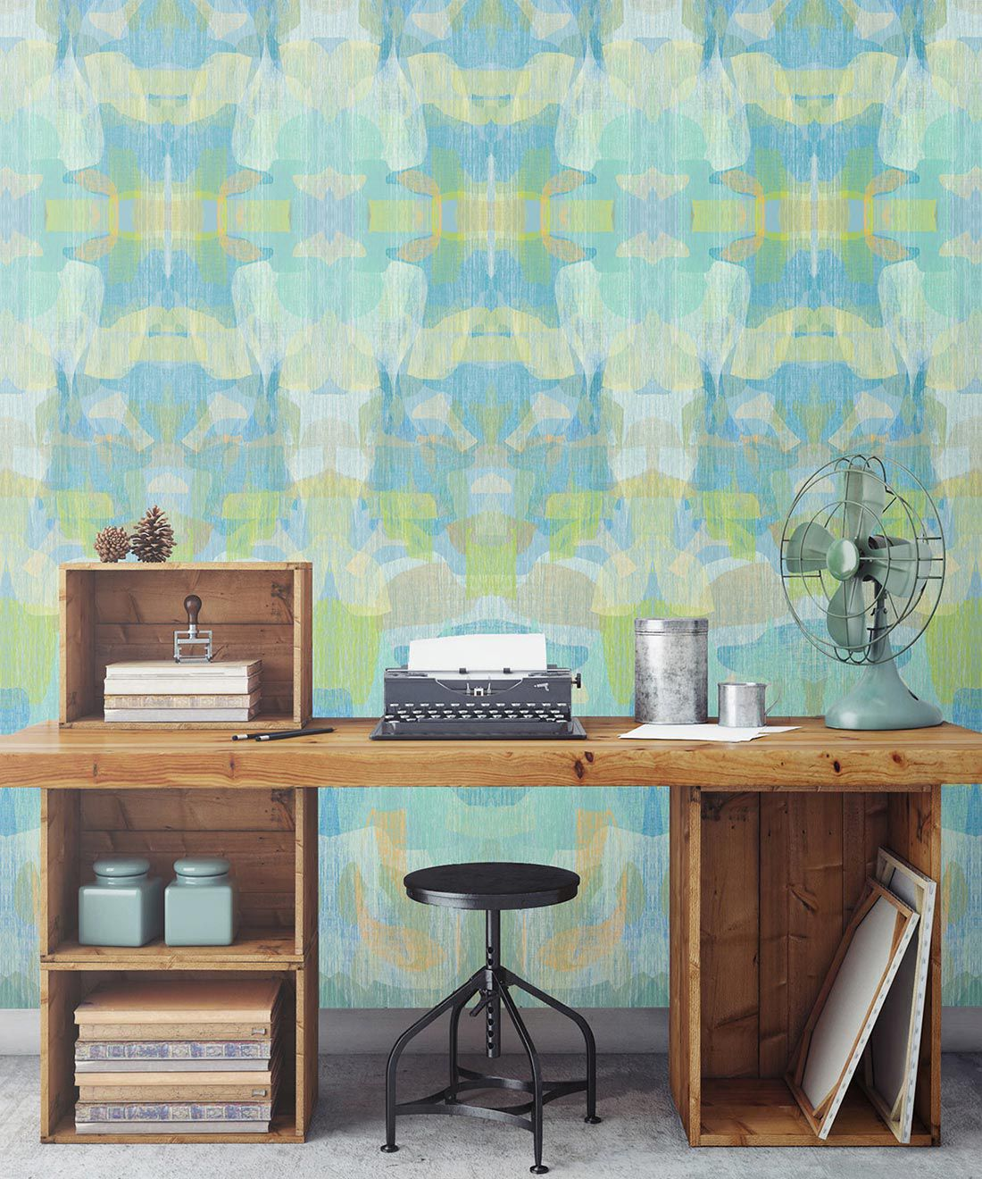 Camoufleur Wallpaper • Turquoise • Blue Yellow Wallpaper • Abstract Wallpaper insitu