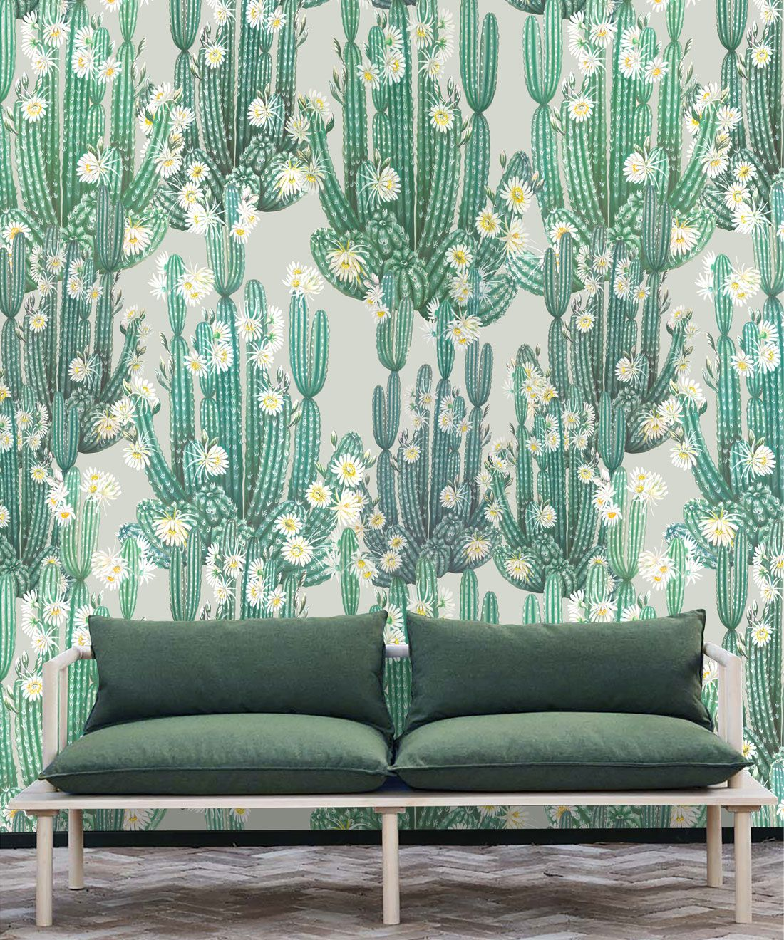San Pedro Wallpaper Green • Cactus Wallpaper • Succulents Wallpaper • Desert Wallpaper Insitu behind sofa with green cushions