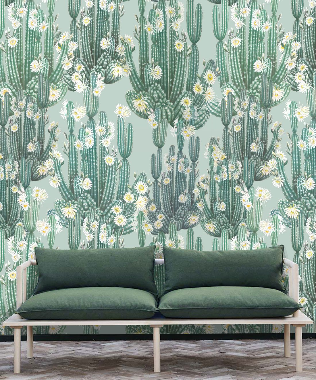 San Pedro Wallpaper Aqua • Cactus Wallpaper • Succulents Wallpaper • Desert Wallpaper Insitu behind sofa with green cushions