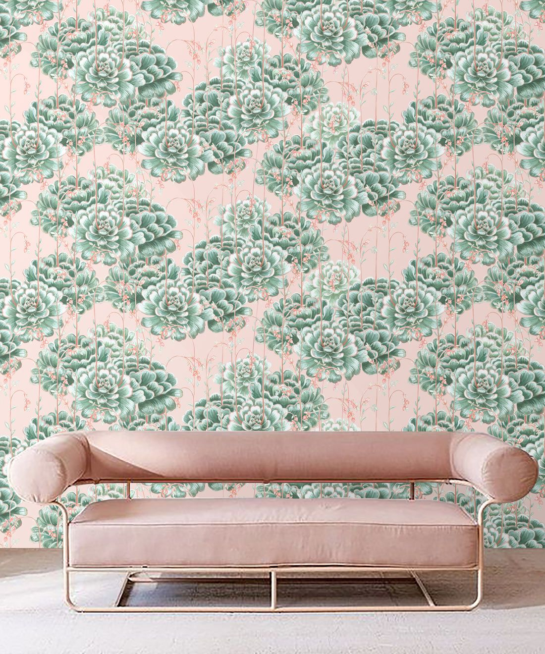 Succulents Wallpaper Green Pink • Cactus Wallpaper • Desert Wallpaper Insitu on pink background behind pink sofa