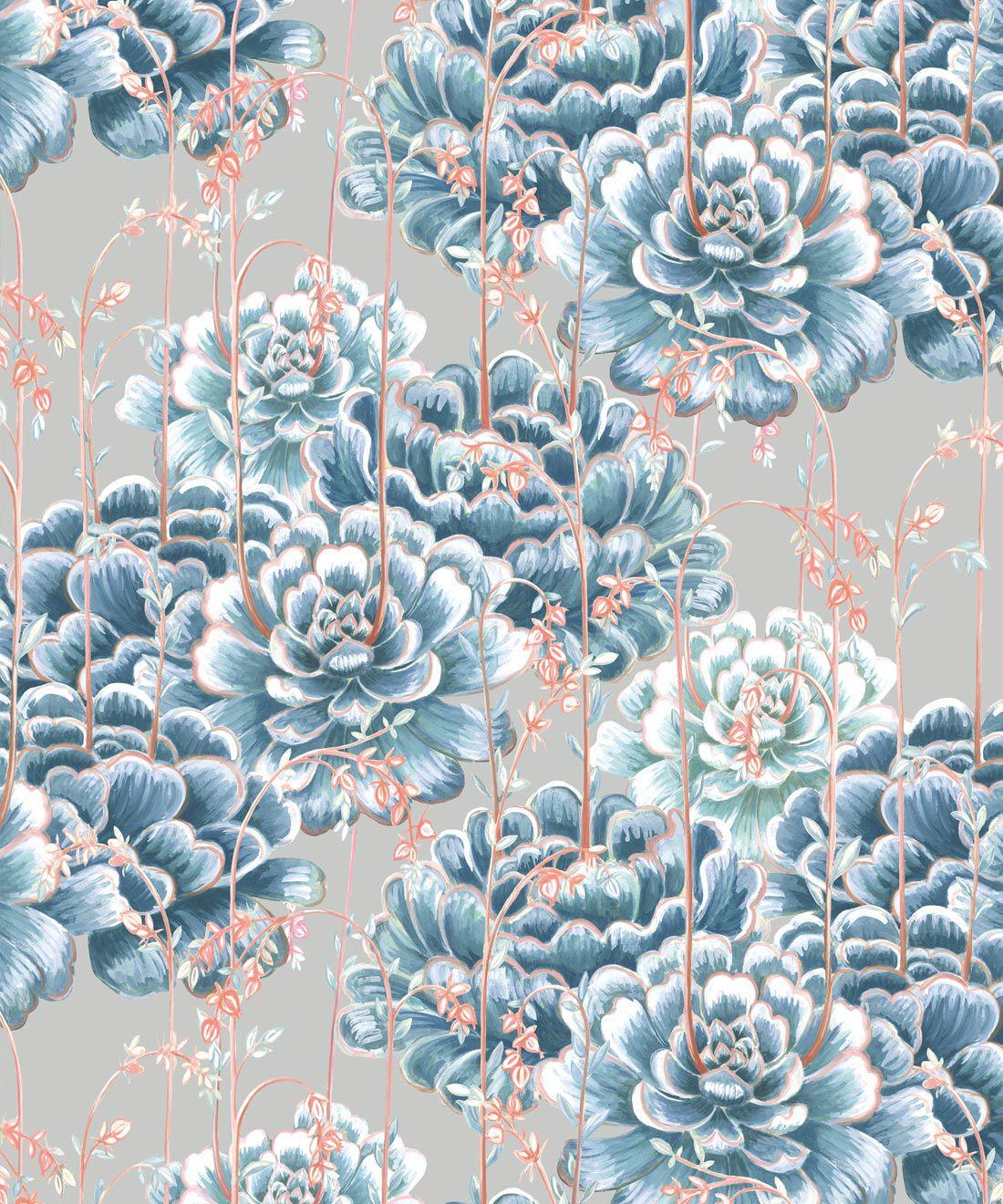 Succulents Wallpaper Steel Blue • Cactus Wallpaper • Desert Wallpaper Swatch on grey background