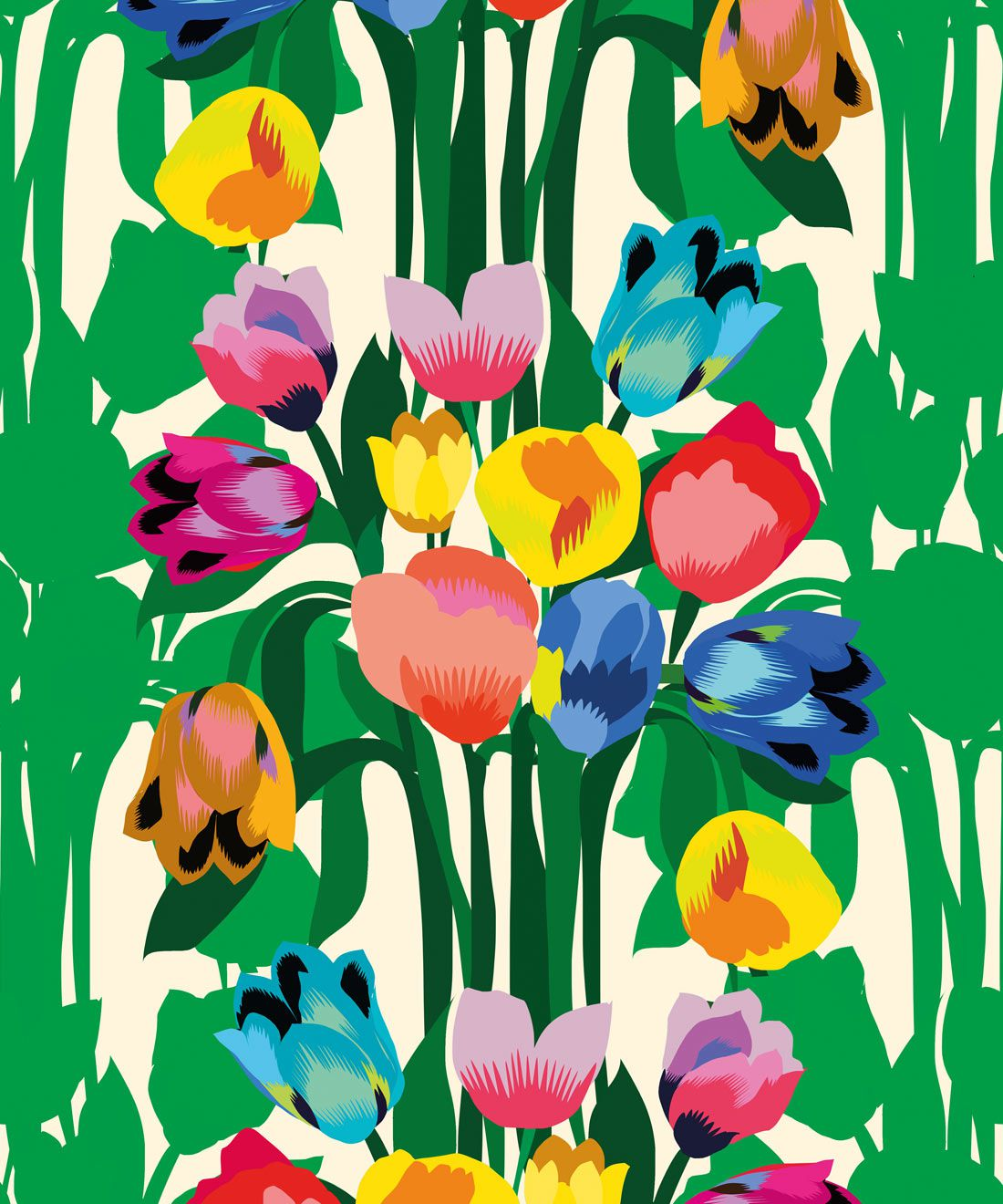 Tulips Wallpaper • Colourful Floral Wallpaper • Swatch
