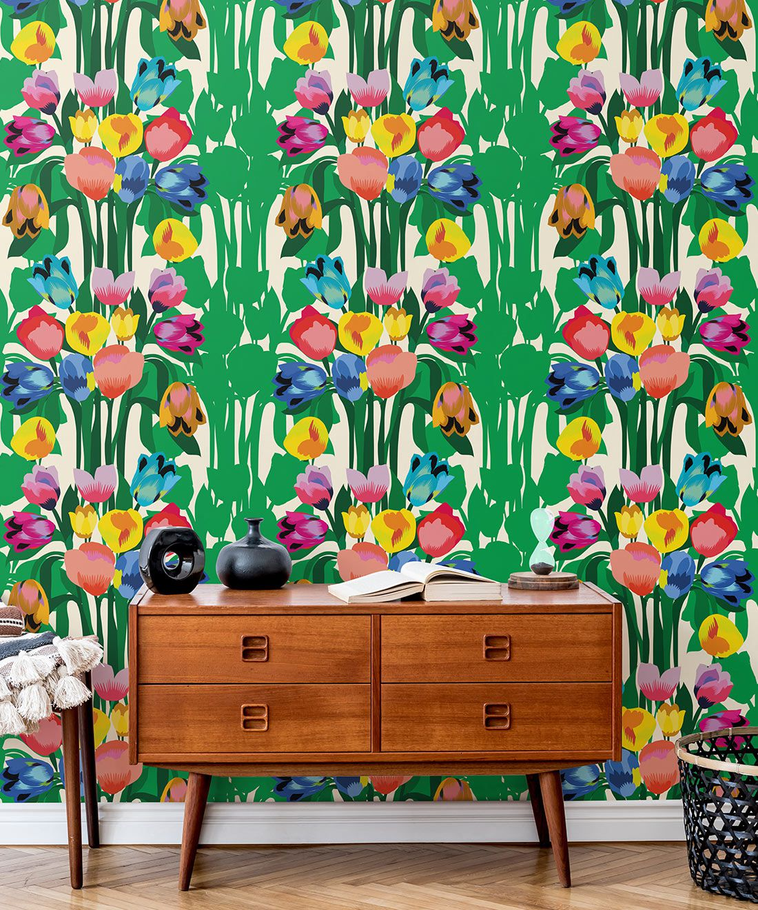 Tulips Wallpaper • Colourful Floral Wallpaper • Insitu