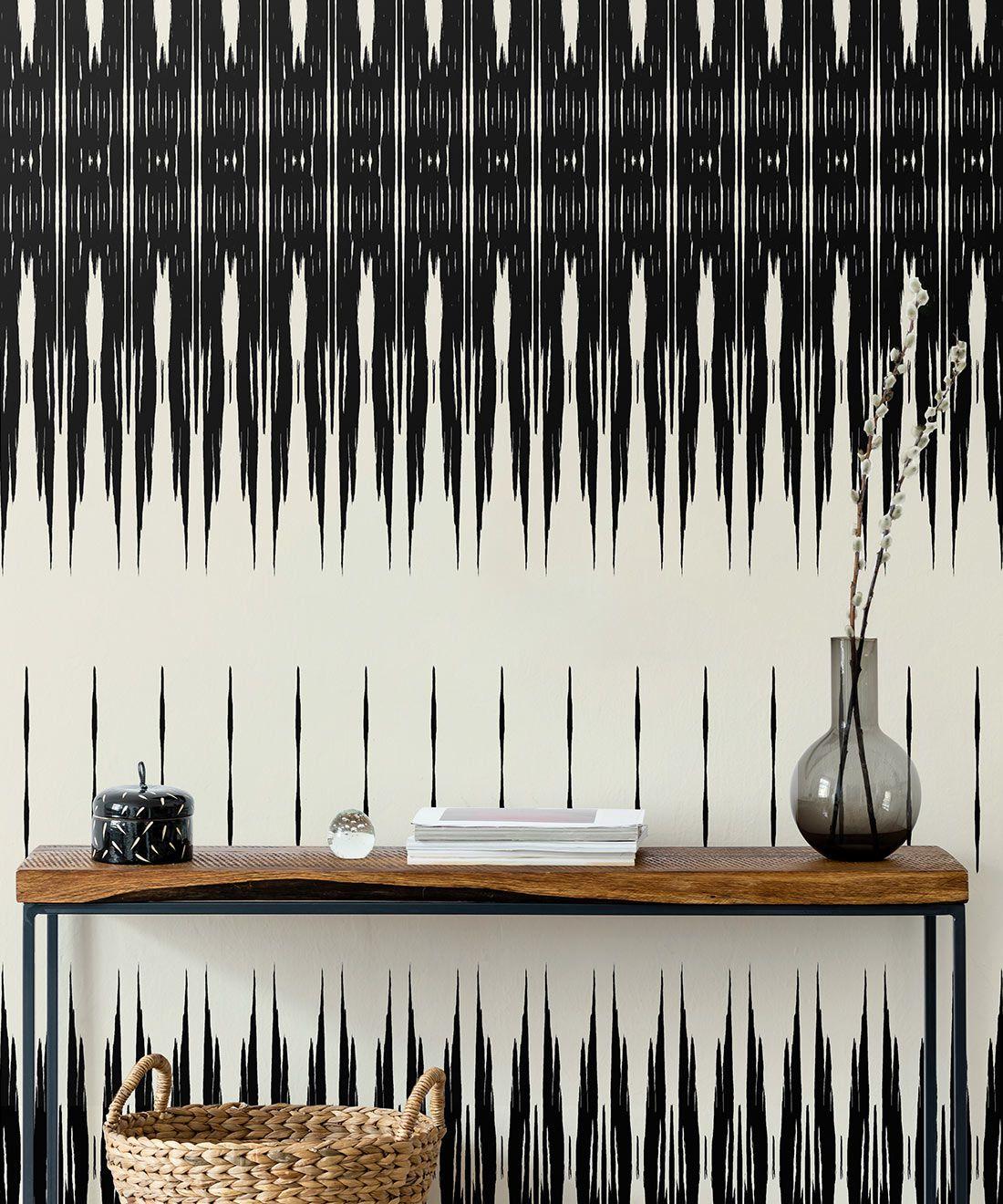 Ikat Wallpaper • Black & White Wallpaper •Kitty McCall • Insitu