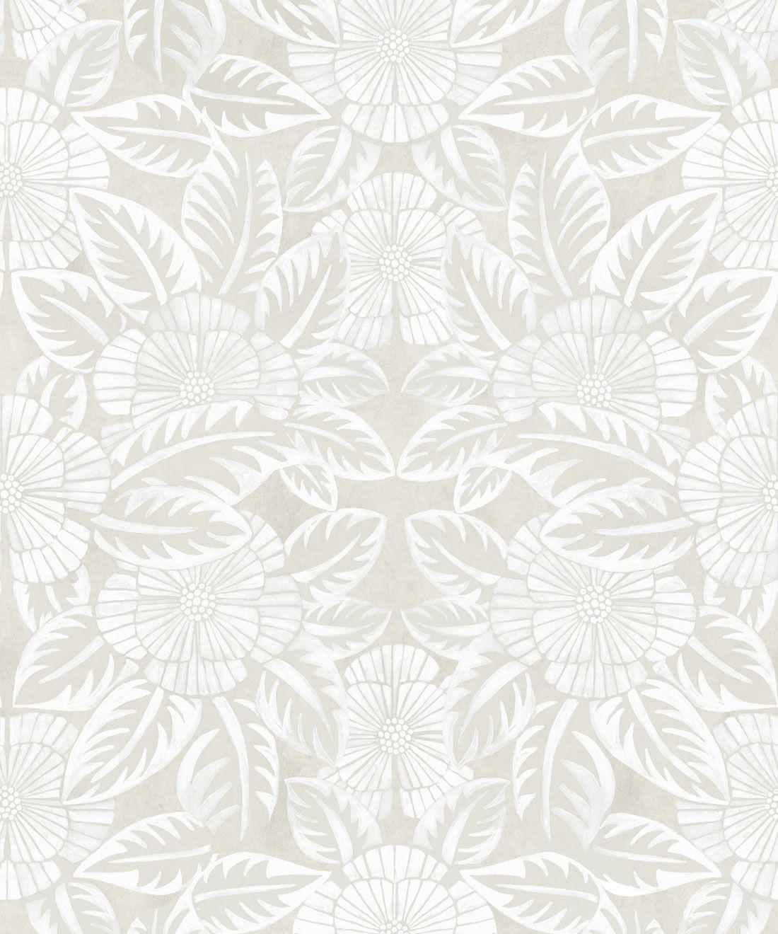 Calcutta Wallpaper • Flower and Leaf Motif Design • Ethnic Wallpaper • Beige Wallpaper • Swatch