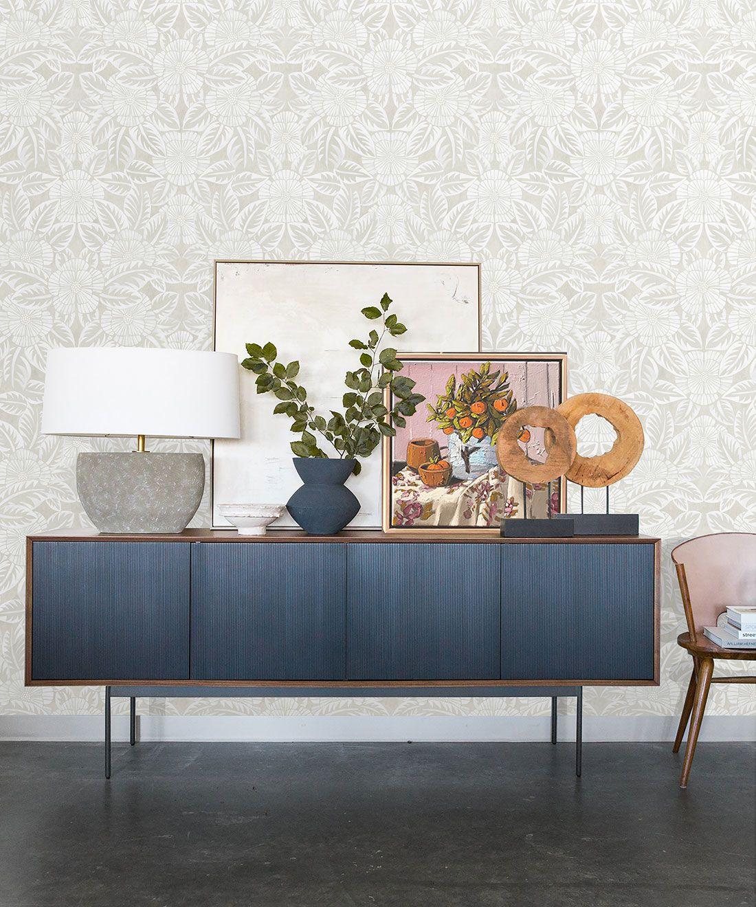 Calcutta Wallpaper • Flower and Leaf Motif Design • Ethnic Wallpaper • Beige Wallpaper • Insitu