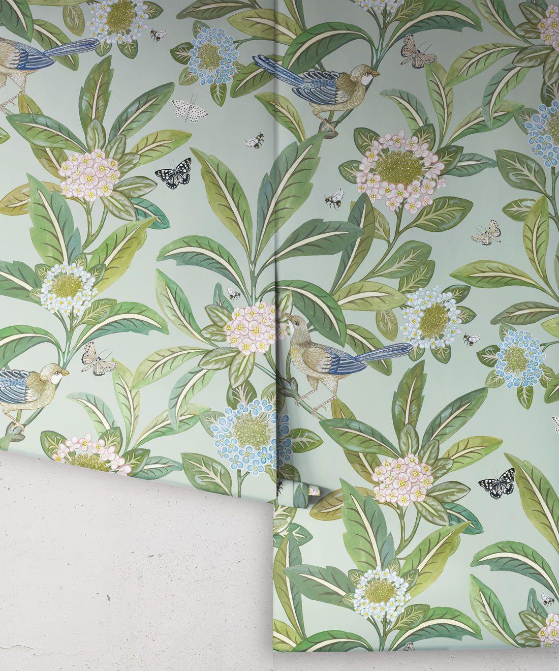 Summer Garden Wallpaper • Aqua Wallpaper • Floral Wallpaper Rolls