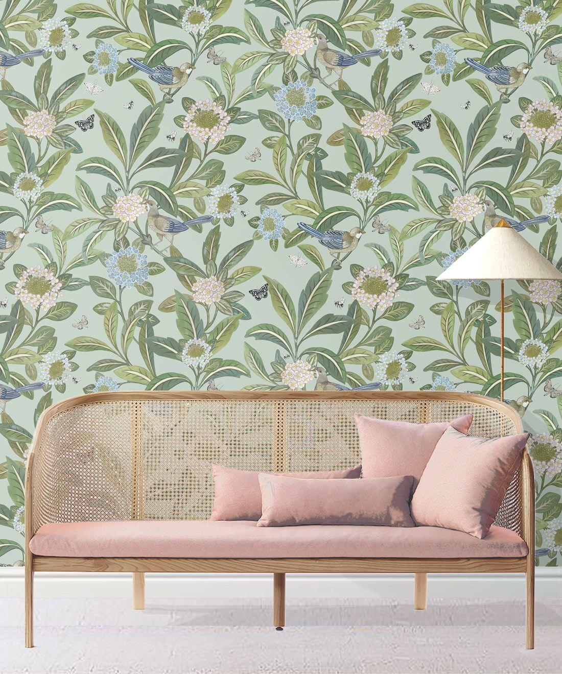 Summer Garden Wallpaper • Aqua Wallpaper • Floral Wallpaper Insitu