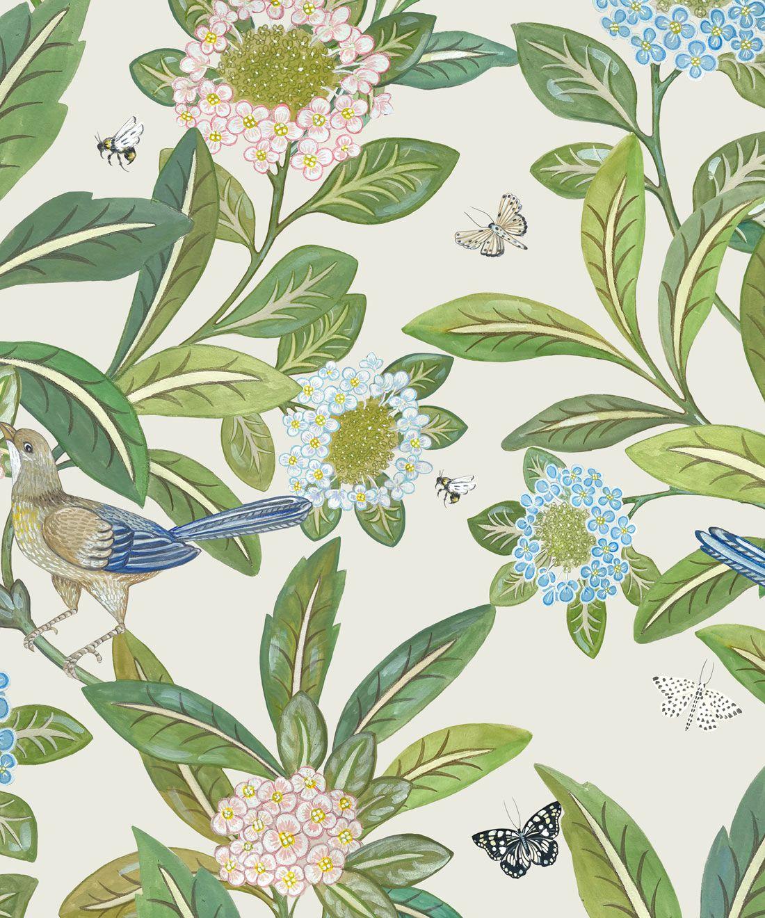 Summer Garden Wallpaper • Floral Wallpaper • ivory Wallpaper •Swatch
