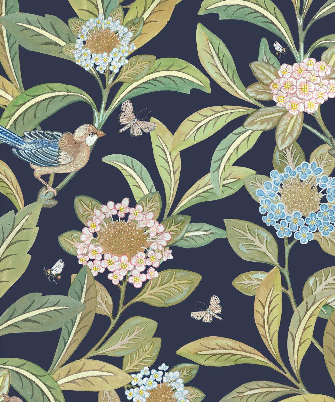 Summer Garden Wallpaper • Navy Wallpaper • Floral Wallpaper Swatch