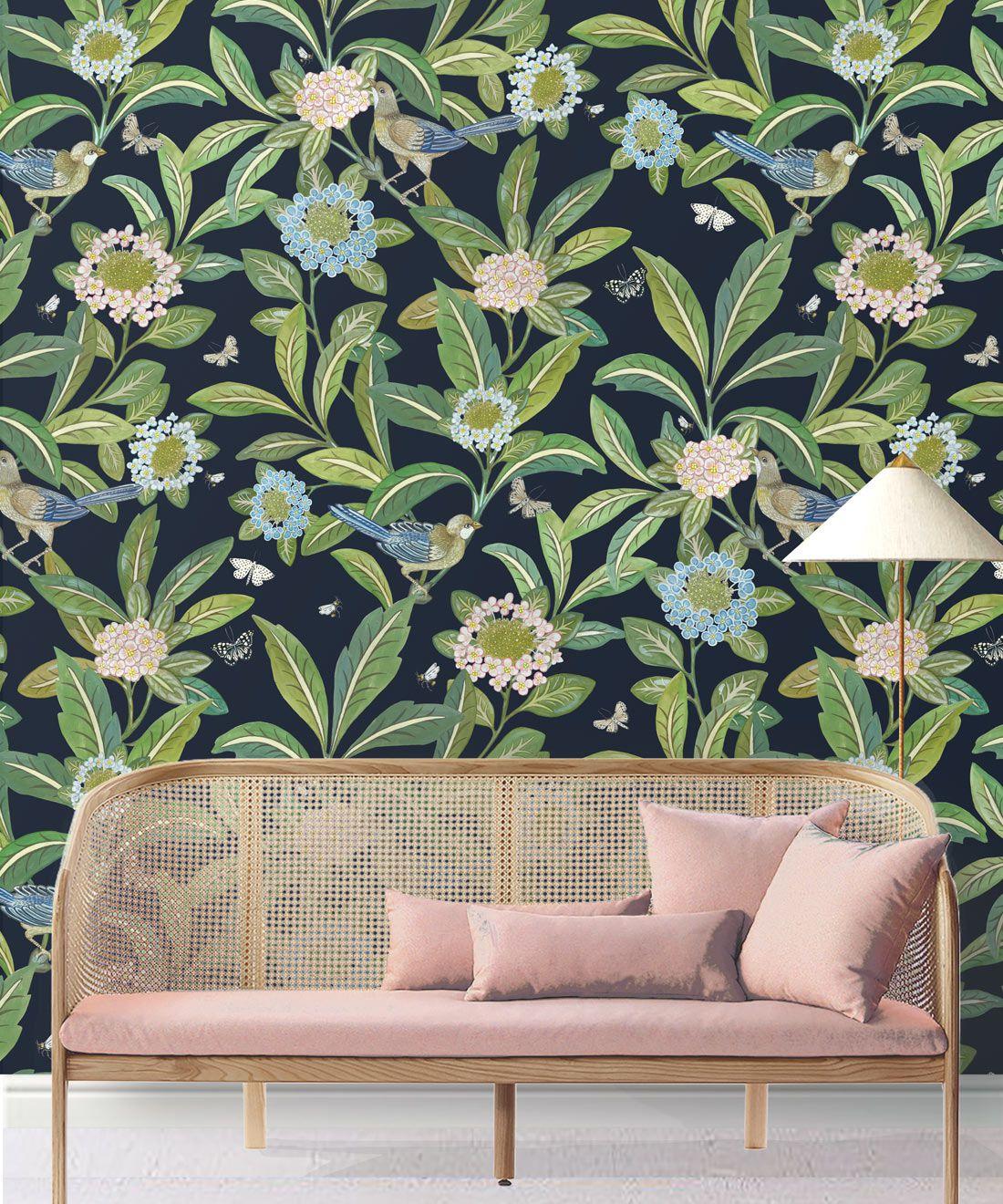 Summer Garden Wallpaper • Original Wallpaper • Floral Wallpaper Insitu