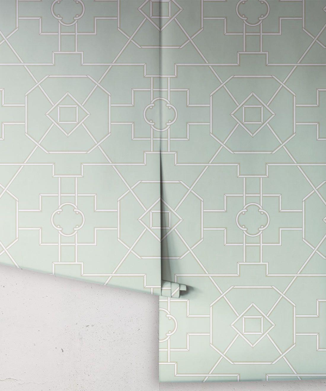 Trellis Wallpaper • Geometric Wallpaper • Mint Green Wallpaper • Rolls