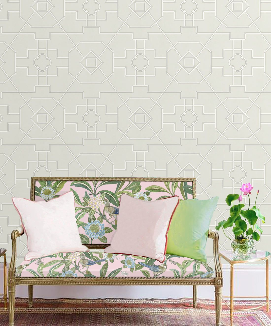 Trellis Wallpaper • Geometric Wallpaper • Beige Wallpaper • Insitu