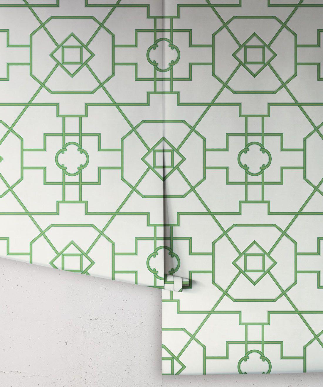 Trellis Wallpaper • Geometric Wallpaper • Ivory Wallpaper • Rolls