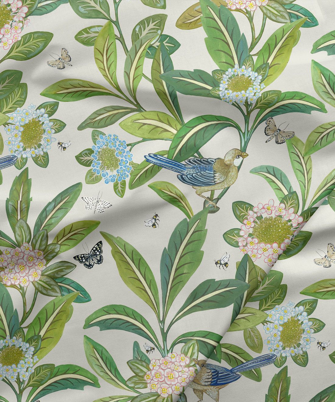 Summer Garden Fabric • Bethany Linz • Bird and Plant Fabric • Ivory Upholstery Fabric