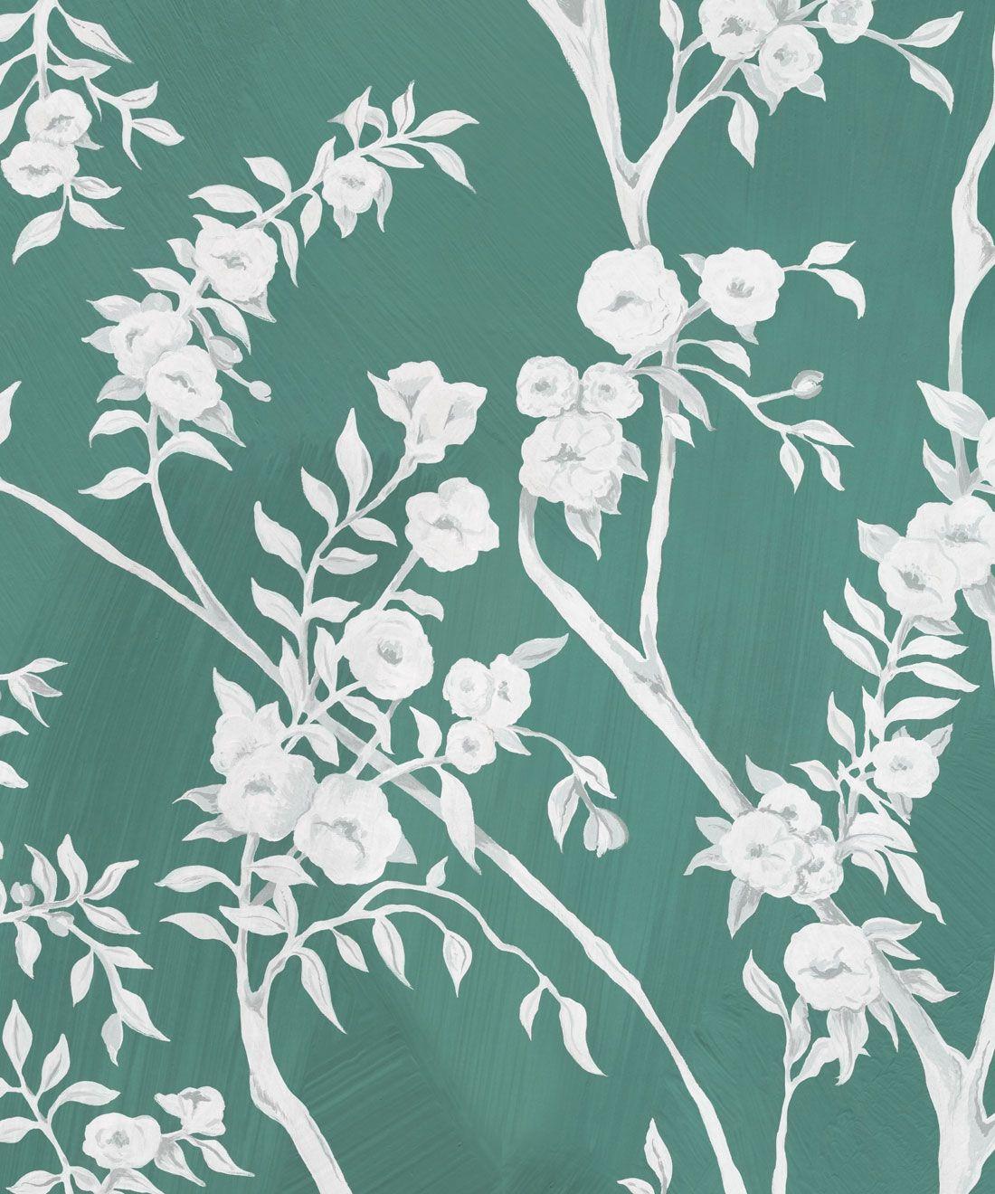Blooming Joy • Chinoiserie Wallpaper by Danica Andler • Jade Swatch