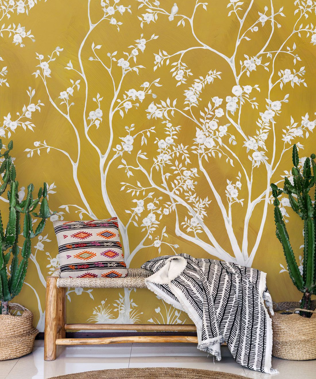Blooming Joy • Chinoiserie Wallpaper by Danica Andler • Mustard Insitu