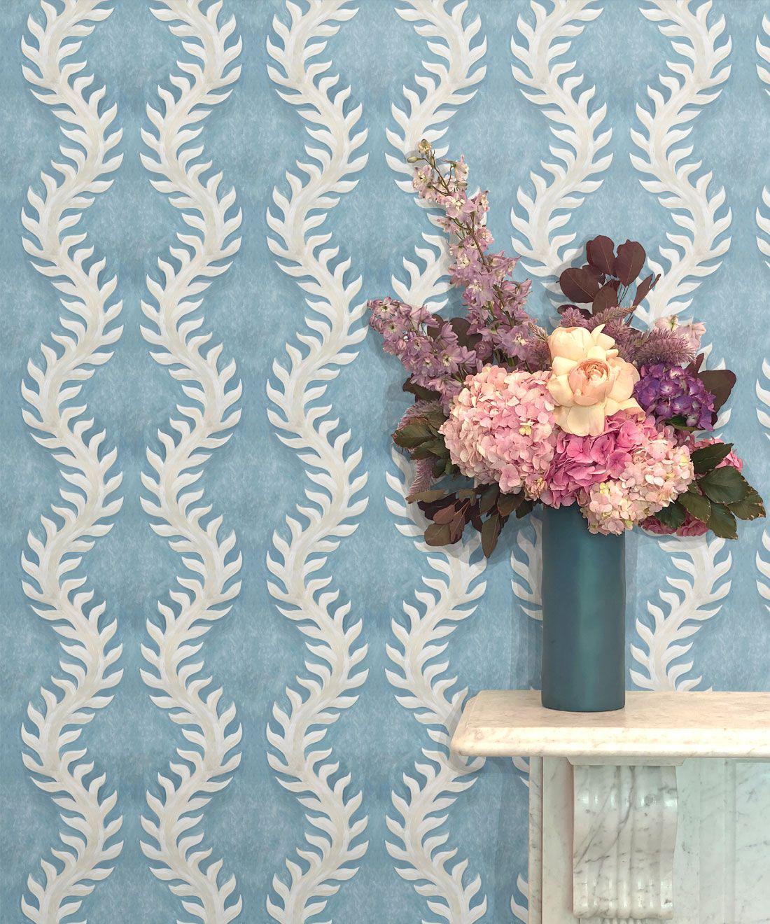 Fern Wallpaper • Blue Wallpaper •Insitu