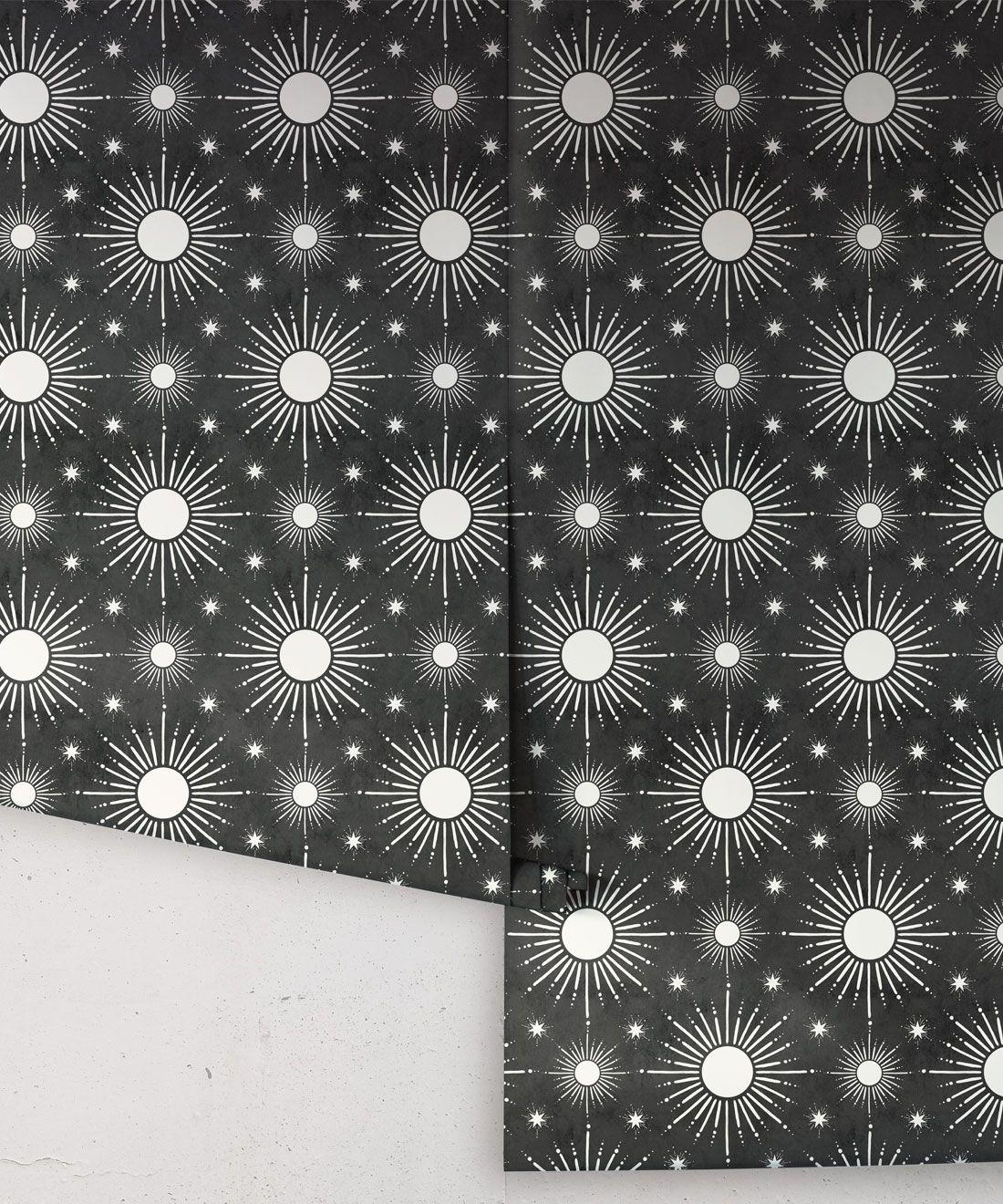 Sun Light Star Bright Wallpaper • Charcoal • rolls