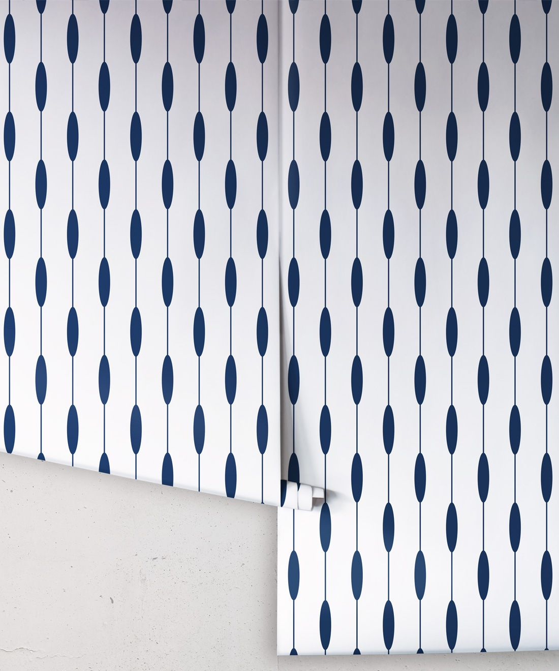 Bowline Wallpaper • Geometric Wallpaper • Striped Wallpaper • Navy Wallpaper •Rolls