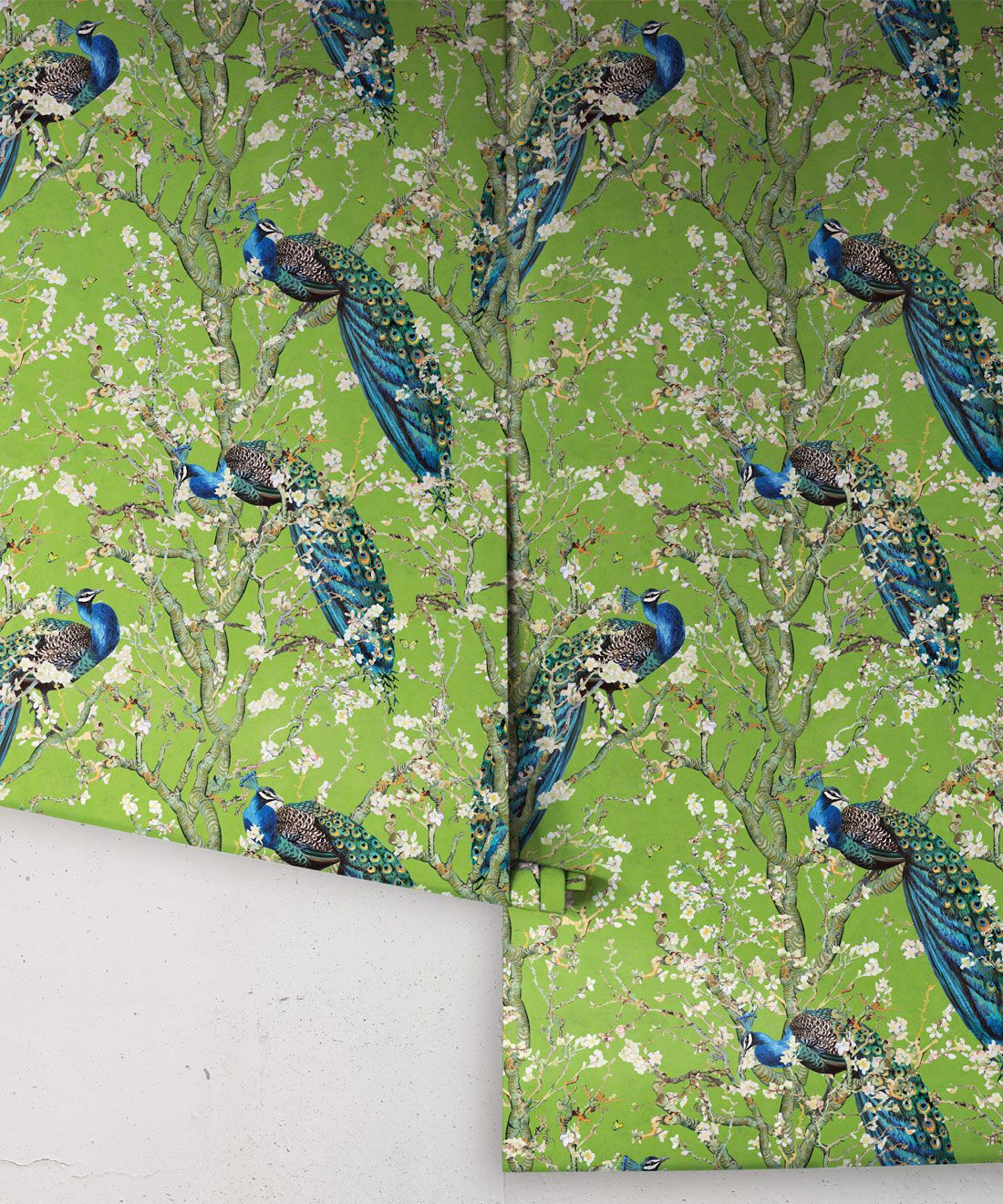 Almond Blossom Wallpaper • Chinoiserie Wallpaper • Wallpaper with Peacocks • Green Chartreause Wallpaper •Swatch