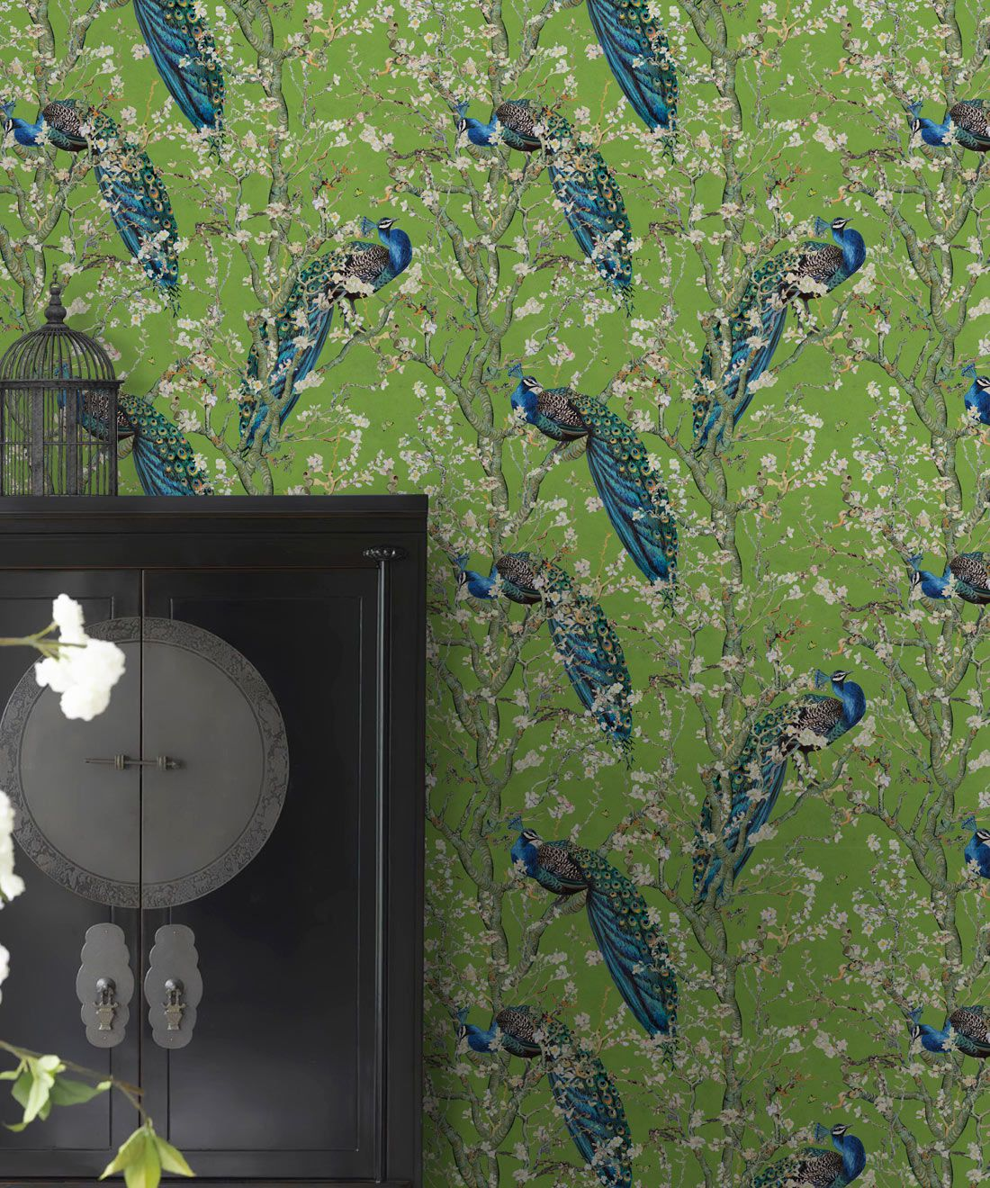 Almond Blossom Wallpaper • Chinoiserie Wallpaper • Wallpaper with Peacocks • Green Chartreause Wallpaper •Insitu