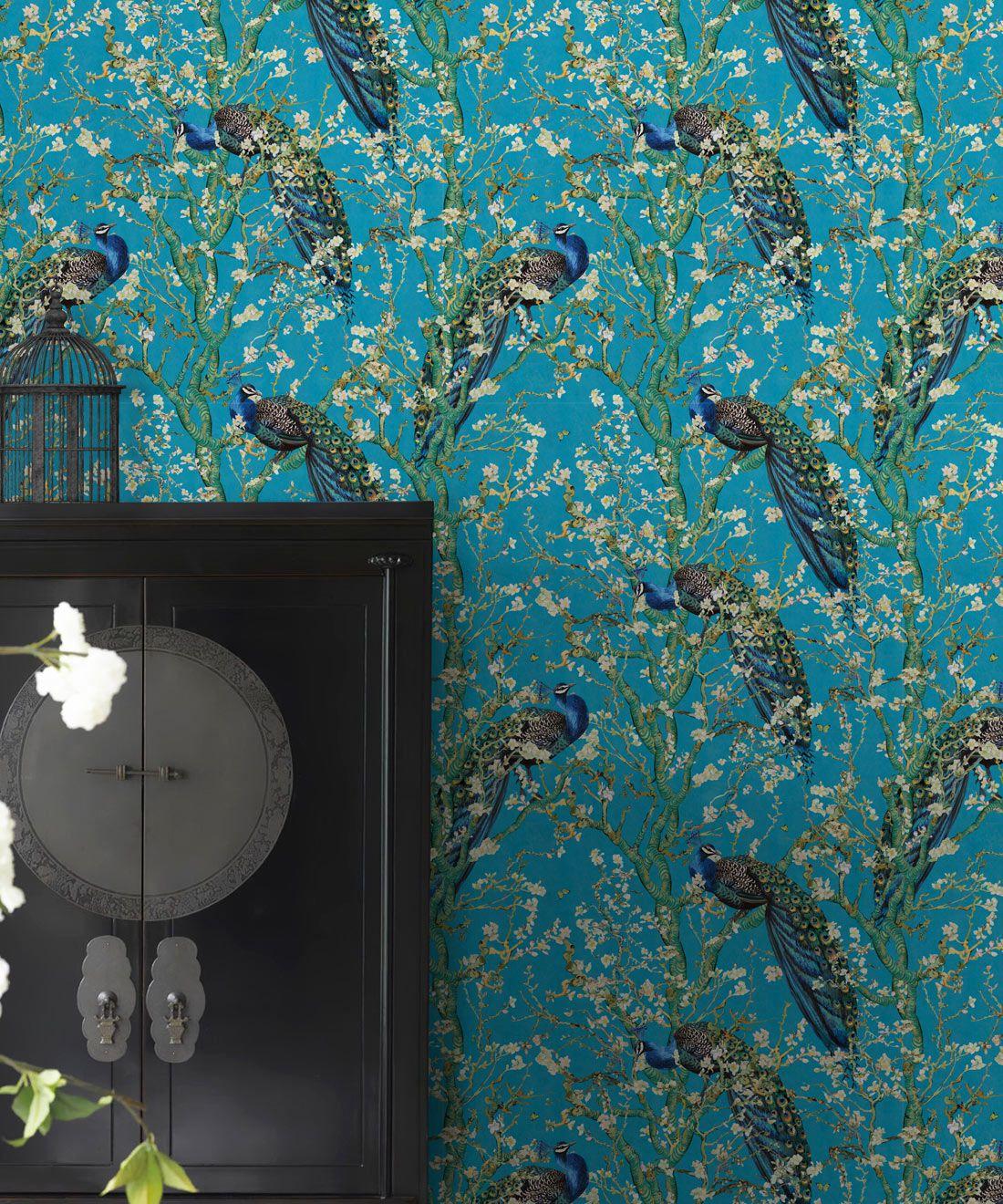 Almond Blossom Wallpaper • Chinoiserie Wallpaper • Wallpaper with Peacocks • Light Blue Duck Egg Wallpaper •Insitu