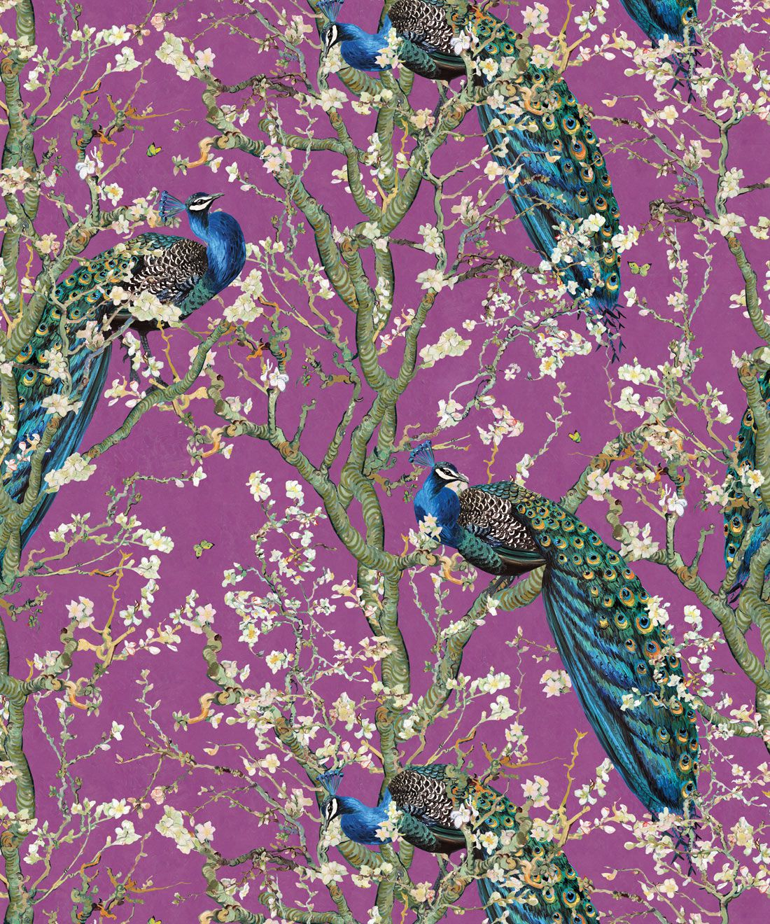 Almond Blossom Wallpaper • Chinoiserie Wallpaper • Wallpaper with Peacocks • Purple Eggplant Wallpaper •Swatch