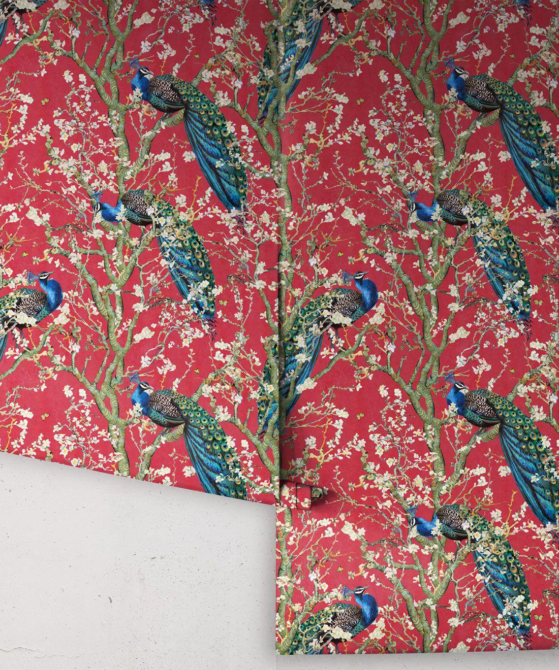 Almond Blossom Wallpaper • Chinoiserie Wallpaper • Wallpaper with Peacocks •Red Lantern Wallpaper •Rolls