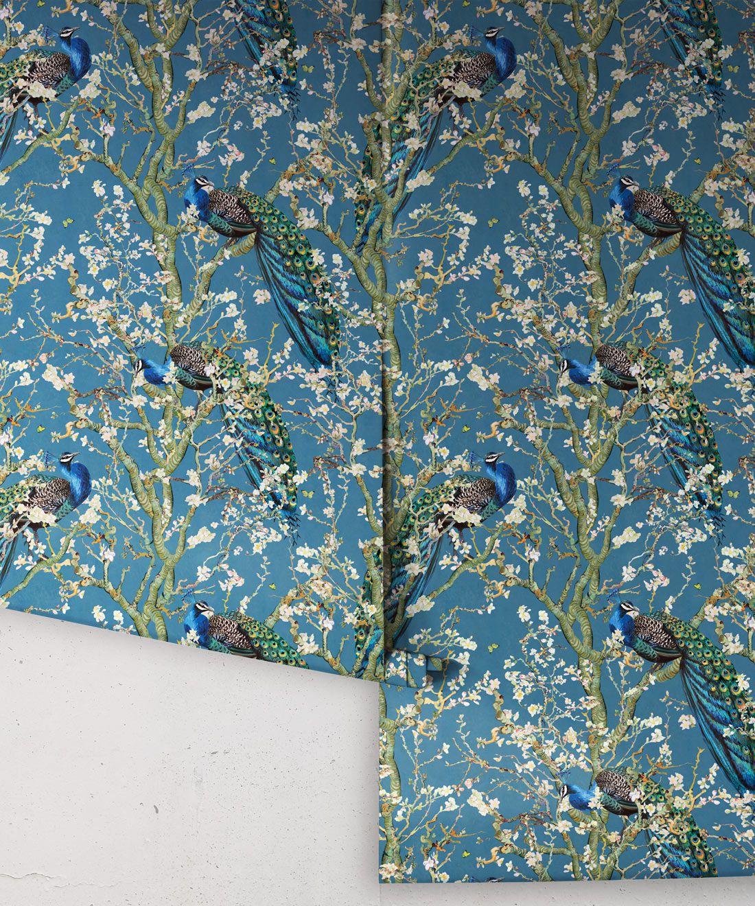 Almond Blossom Wallpaper • Chinoiserie Wallpaper • Wallpaper with Peacocks • Royal Blue Wallpaper •Rolls