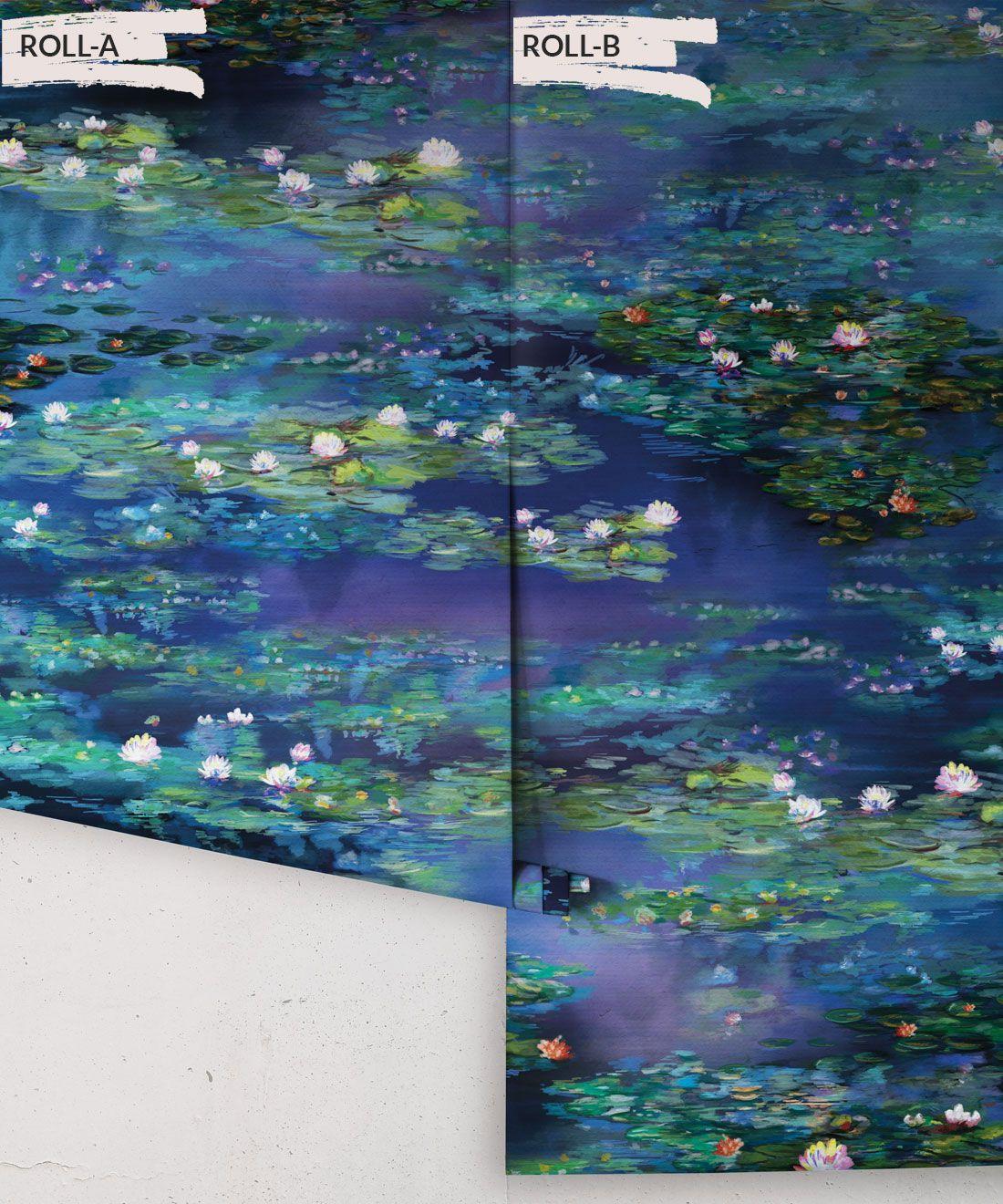 Water Lillies Wallpaper •Abstract Wallpaper • Dreamy Wallpaper • Blue Wallpaper •Rolls
