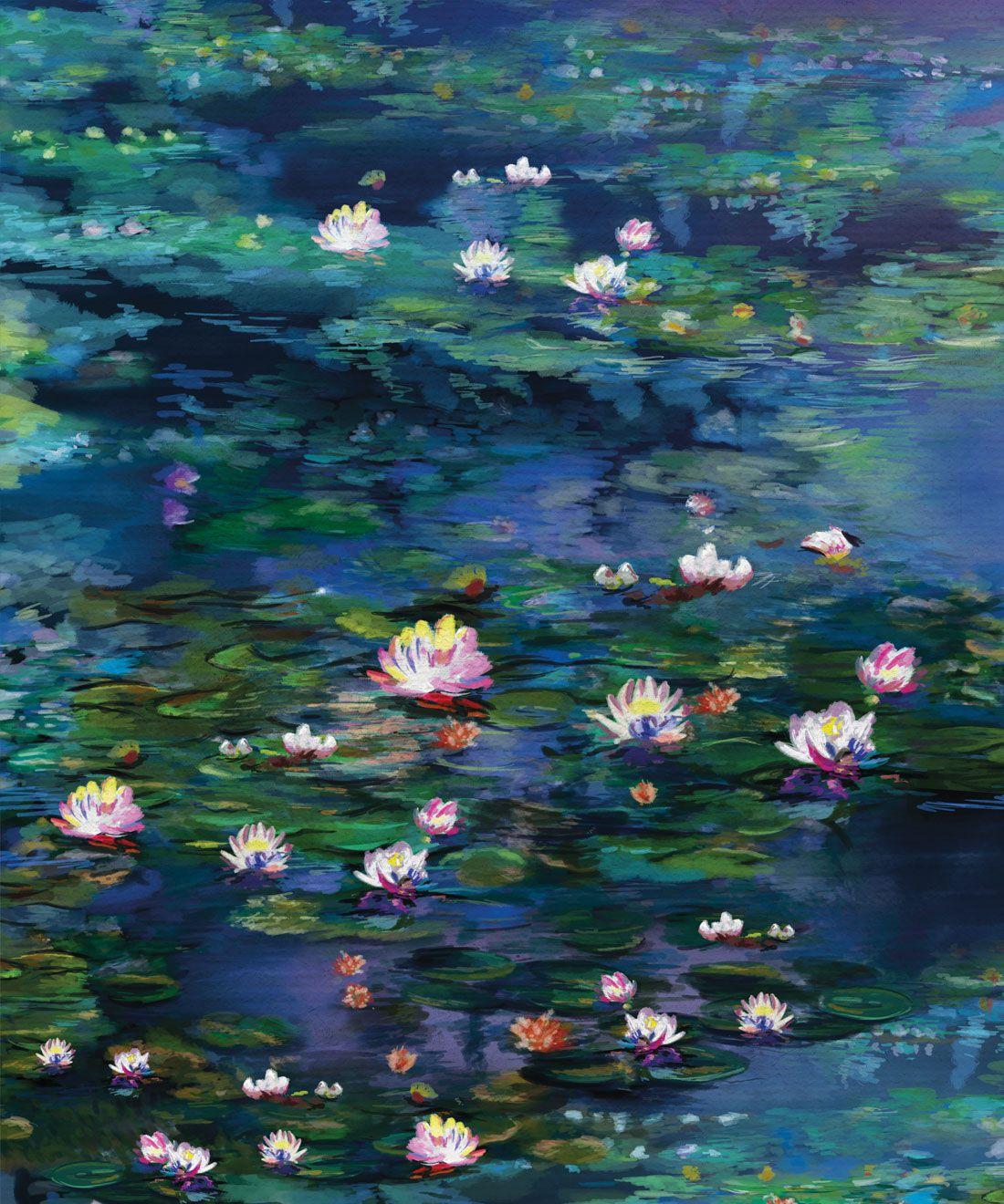Water Lillies Wallpaper •Abstract Wallpaper • Dreamy Wallpaper • Blue Wallpaper •Swatch