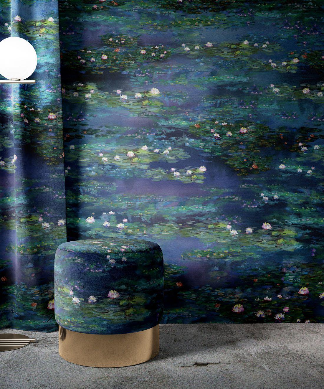 Water Lillies Wallpaper •Abstract Wallpaper • Dreamy Wallpaper • Blue Wallpaper •Insitu