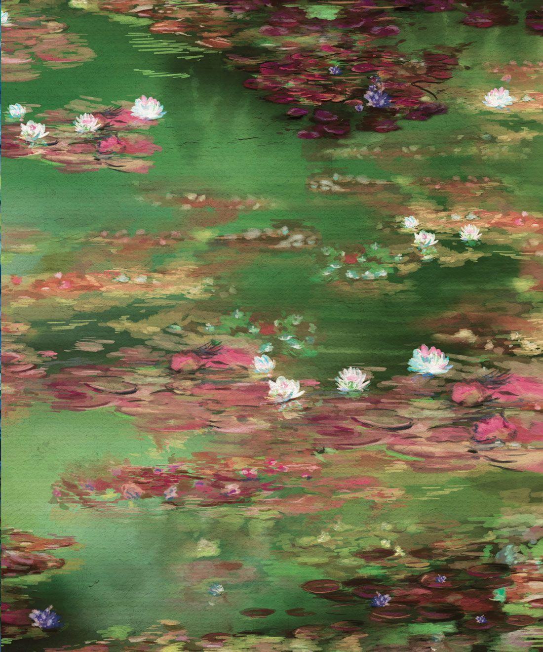 Water Lillies Wallpaper •Abstract Wallpaper • Dreamy Wallpaper • Green Fairy Wallpaper •Swatch