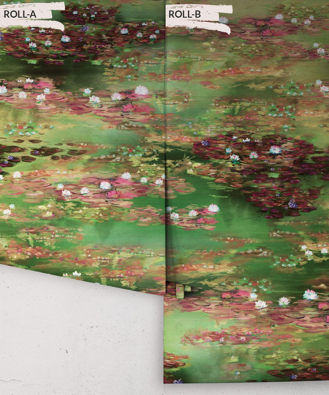 Water Lillies Wallpaper •Abstract Wallpaper • Dreamy Wallpaper • Green Fairy Wallpaper •Rolls