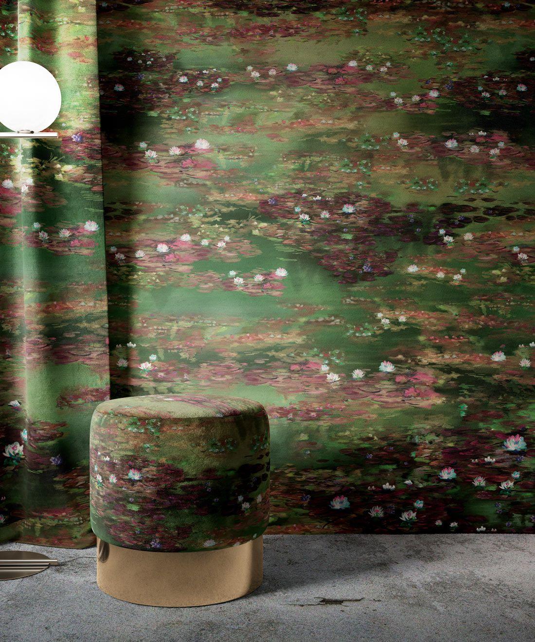 Water Lillies Wallpaper •Abstract Wallpaper • Dreamy Wallpaper • Green Fairy Wallpaper •Insitu