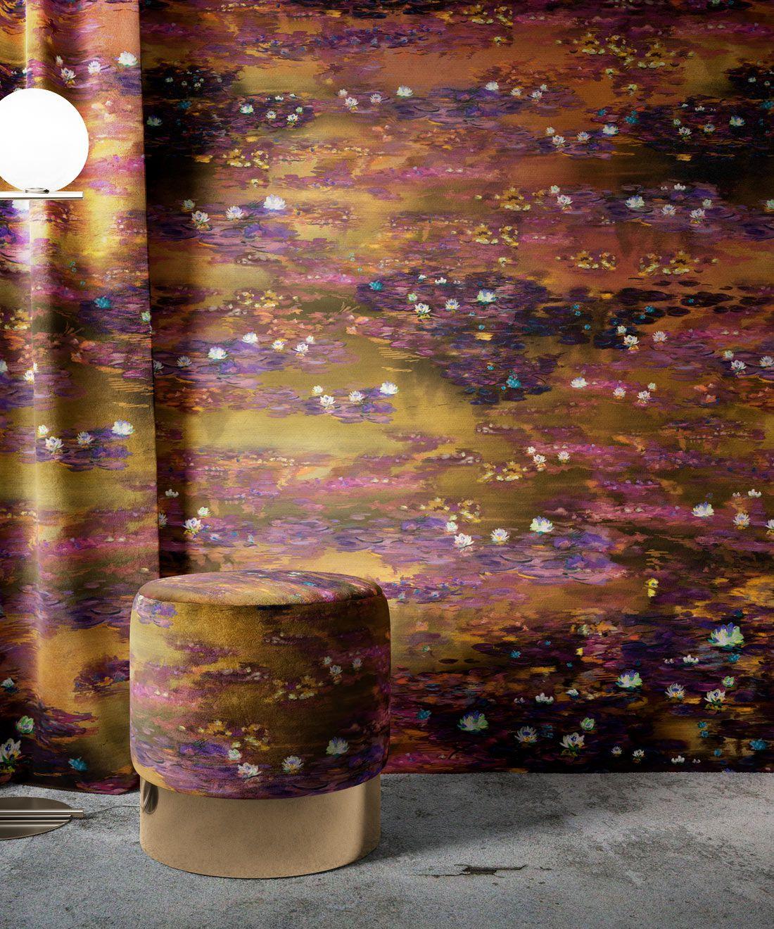 Water Lillies Wallpaper •Abstract Wallpaper • Dreamy Wallpaper • Luminere Wallpaper •Insitu